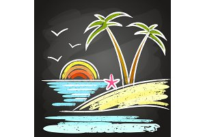 Poster for summer and beach party background.