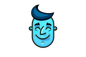 Blue face. Emotional Face Vector