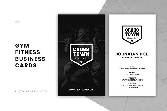 Gym fitness business card business card templates creative market gym fitness business card business cards wajeb Image collections