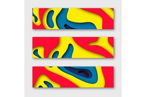 3d paper cut horizontal banners. Shapes with shadow in white and yellow, red, blue. Papercraft layered art. Design for decoration, business presentation, posters, flyers, prints, vector illustration.
