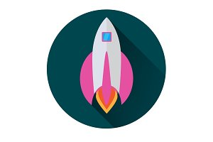 Rocket icon in flat style in a green circle with a long shadow conceptual