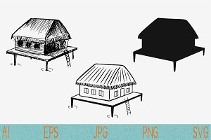 bungalow set vector svg png eps