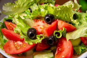 Tasty fresh salad of tomatoes