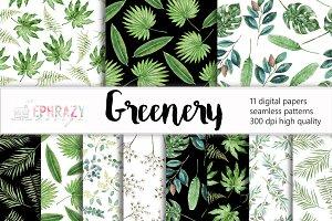 Greenery watercolor seamless pattern