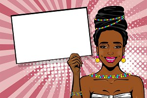 Elegance afro girl pop art vector