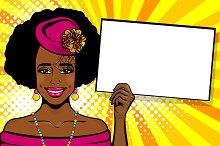 African-american black woman pop art