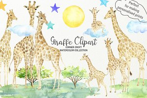Giraffe clipart, giraffe family