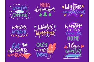 Winter Hello logo vector badge text letters motivation welcome wintertime phrases and quotes lettering