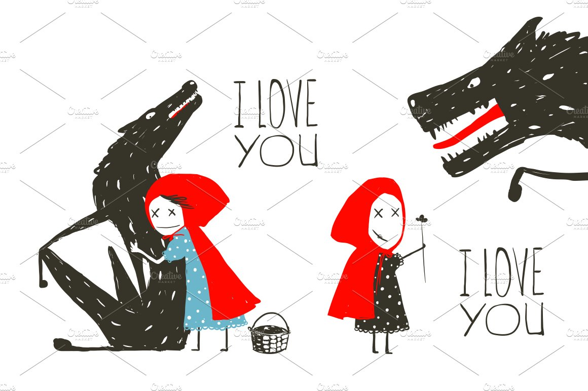 Little red riding hood loves wolf illustrations creative market buycottarizona