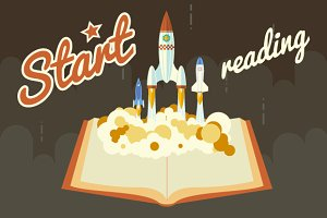 Space Roket Launch from Book