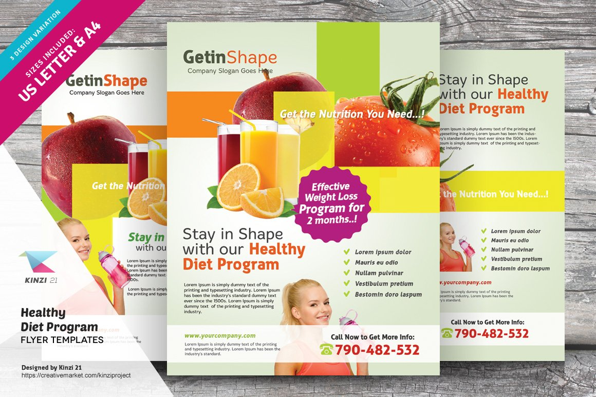 Healthy Diet Program Flyers Flyer Templates Creative Market