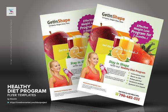 healthy diet program flyers flyer templates creative market