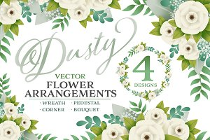 Dusty Vector Floral Arrangements (4)