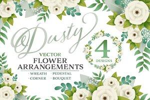 Dusty Vector Floral Arrangements (4)