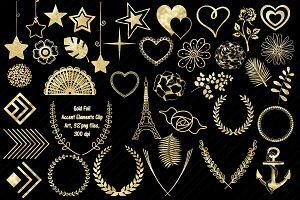 Gold Foil Accents Part Two ClipArt