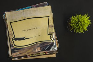overhead vinyl record cover with place for text with flower concept design preset mockup