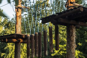 rope park in the tall tree forest obstacle