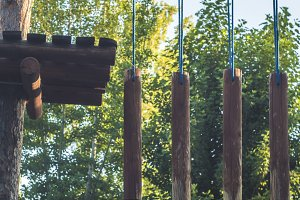 rope park wooden bars hang on the ropes obstacle healthy lifestyle