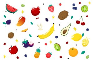 Set fruits. Vector illustration