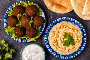 falafel and hummus