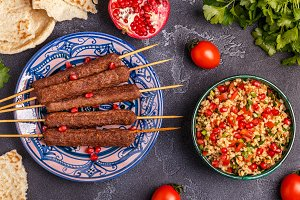 kebabs with tabbouleh salad