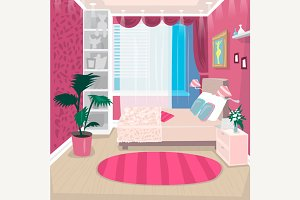 Empty pink children room for girl