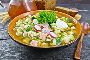 Okroshka in bowl