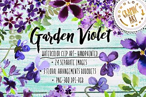 Garden Violet Clipart Purple Bouquet