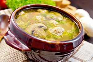 Soup with meatballs and mushrooms