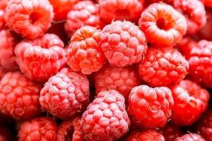 fresh raspberries macro shot