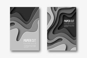 3d paper cut vertical banners. Shapes with shadow in different grey color tones. Papercraft layered art. Design for decoration, business presentation, posters, flyers, prints, vector.