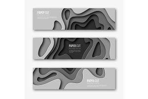 3d paper cut horizontal banners. Shapes with shadow in different grey color tones. Papercraft layered art. Design for decoration, business presentation, posters, flyers, prints, vector.