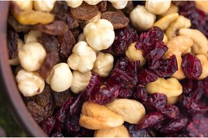 Dried hazelnuts, cashews, almonds and raisins.