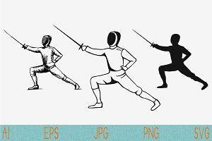Fencing player set vector svg png