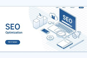 Seo optimization web page template.Flat vector isometric concept