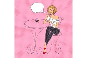 Vector fashion woman drinking coffee, french style illustration with bubble for text.