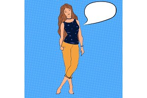 Vector teenage girl with long hair and chocker on her neck. Character illustration with bubble for text.