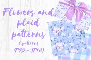 Flower and plaid patterns set