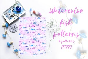 Watercolor fish patterns