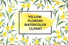 Yellow Flowers Watercolor Clipart