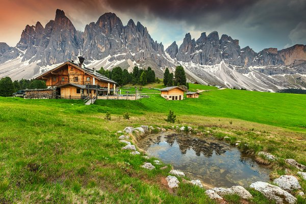 Wooden chalets in Dolomites, Italy