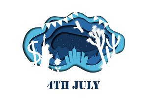 Happy 4th of July 3D abstract illustration