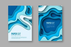 3d paper cut vertical banners. Shapes with shadow in different blue color tones. Papercraft layered art. Design for decoration, business presentation, posters, flyers, prints, vector.