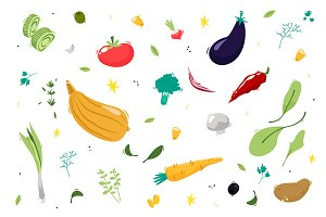 Set vegetables. Vector illustration