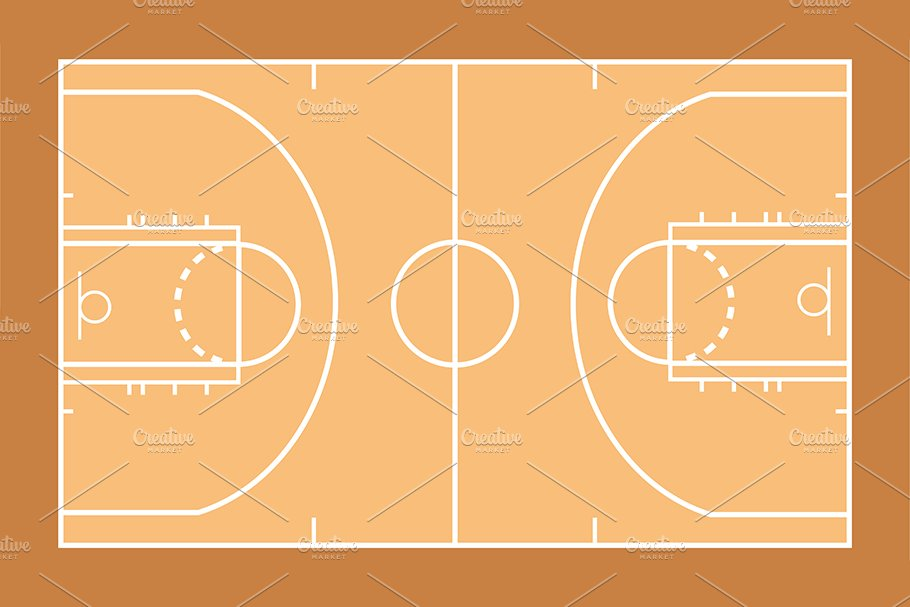 Basketball Court Template Custom Designed Illustrations