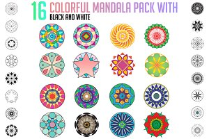16 COLORFUL MANDALA PACK