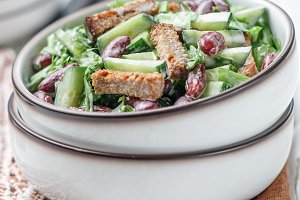 Salad from kidney beans, cucumber
