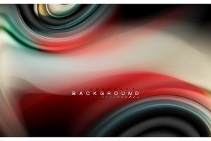 Fluid liquid colors design, colorful marble or plastic wavy texture background, glowing multicolored elements on black, for business or technology presentation or web brochure cover design, wallpaper