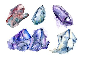 Blue mineral PNG watercolor set