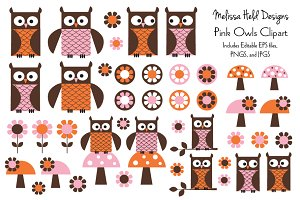 Pink Owls Clipart